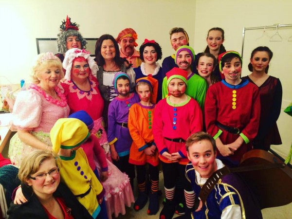 The Snow White cast with guest celebrity Mayor Sharon Gaetz.